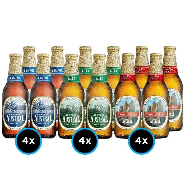 PACK AUSTRAL: 4x Cerveza Austral Calafate en Botella 330cc + 4x Cerveza Austral Lager en Botella 330cc + 4x Cerveza Austral Torres del Paine en Botella 330cc