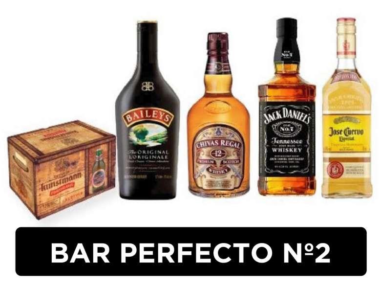 BAR PERFECTO Nº2: 12x Cerveza Kunstmann Torobayo + Licor Baileys + Whisky Chivas Regal 12 Años + Whiskey Jack Daniels N7 + Tequila Jose Cuervo