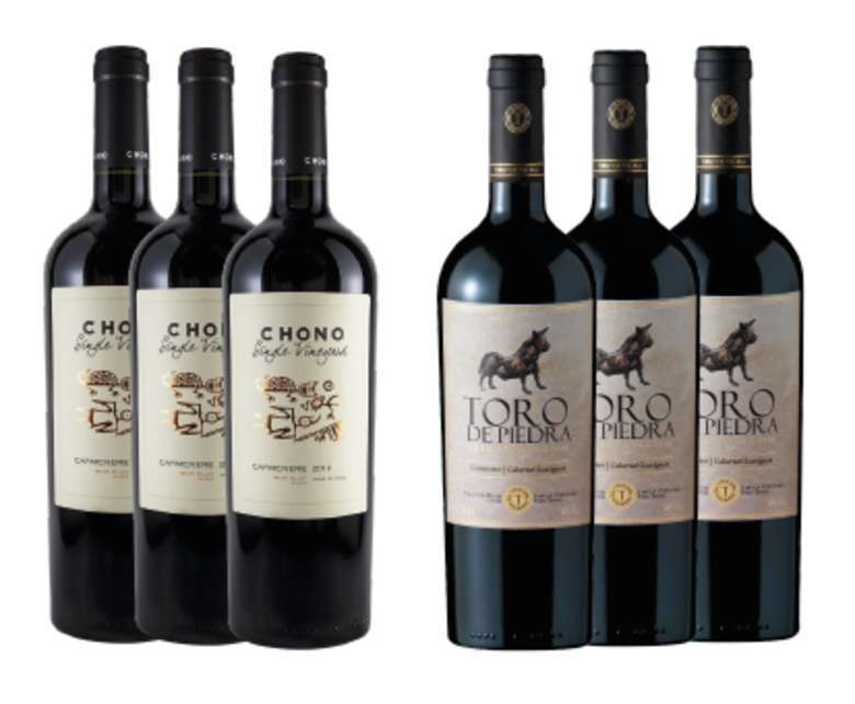 PACK VINOS GRAN RESERVA Nº2: 3x Vino Chono Single Vineyard Carmenere 750cc + 3x Vino Toro de Piedra Carmenere / Cabernet Sauvignon 750cc