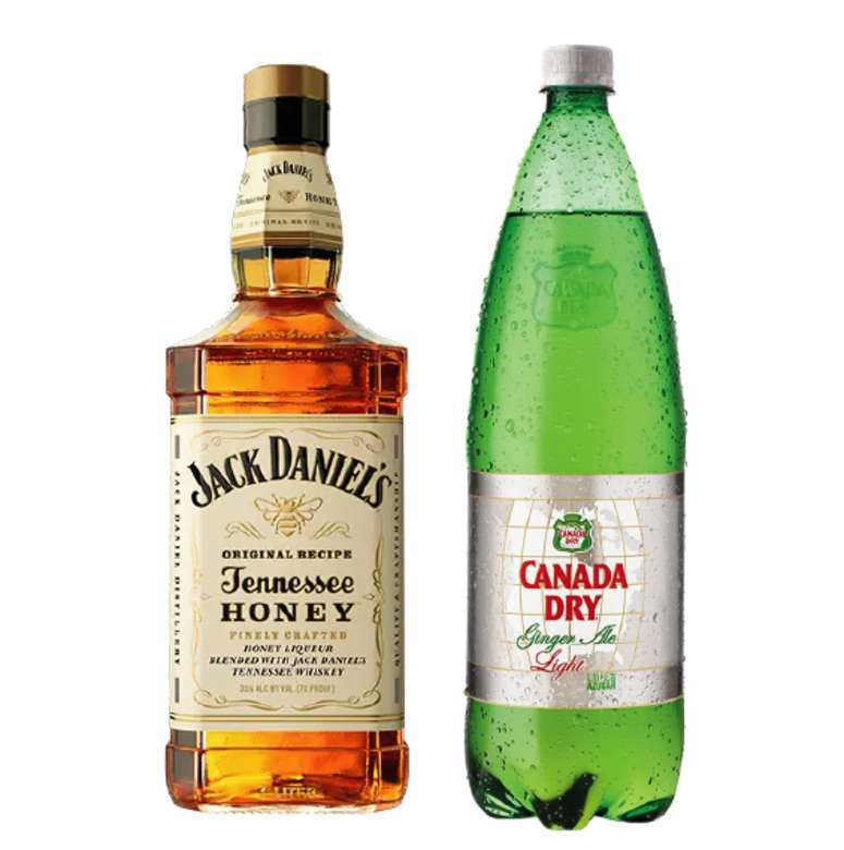 Whiskey Jack Daniels Honey 750cc + Canada Dry Ginger Ale Light 1.5 Lts