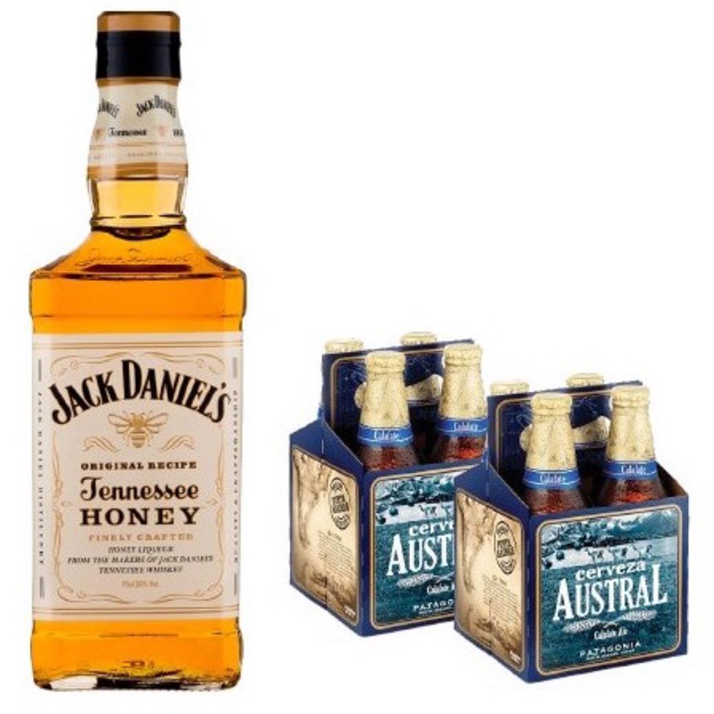Jack Daniels Honey 750cc + 8x Austral Calafate Botellas 330cc