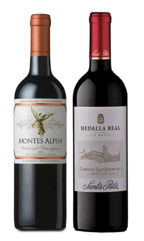 PACK DUO VINOS Nº4: Vino Montes Alpha Cabernet Sauvignon 750cc + Vino Medalla Real Gran Reserva Cabernet Sauvignon 750cc