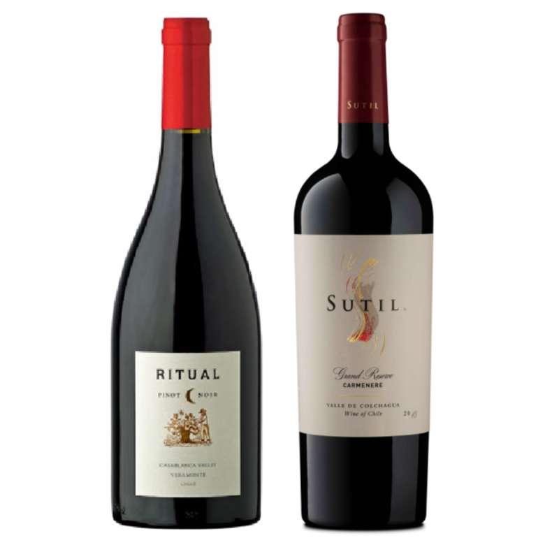 PACK DUO RITUAL SUTIL: Vino Ritual Veramonte Pinot Noir 750cc + Vino Sutil Gran Reserva Carmenere 750cc