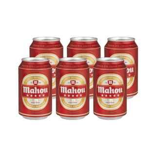 6x Cerveza Mahou 5 Estrellas en Latas 330cc