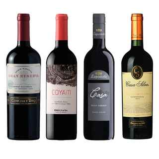 PACK PREMIUM: 1 Serie Riberas Cabernet + 1 COYAM + 1 Lapostolle Grand Selection Petite Verdot + 1 Casa Silva Gran Terroir Carmenere