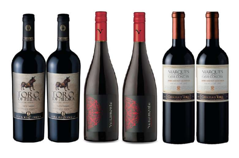 PACK VINOS MIX Nº1: 2x Vino Toro de Piedra Cabernet Sauvignon 750cc + 2x Vino Veramonte Pinot Noit Reserva 750cc + 2x Vino Marques de Casa Concha Cabernet Sauvignon 750cc