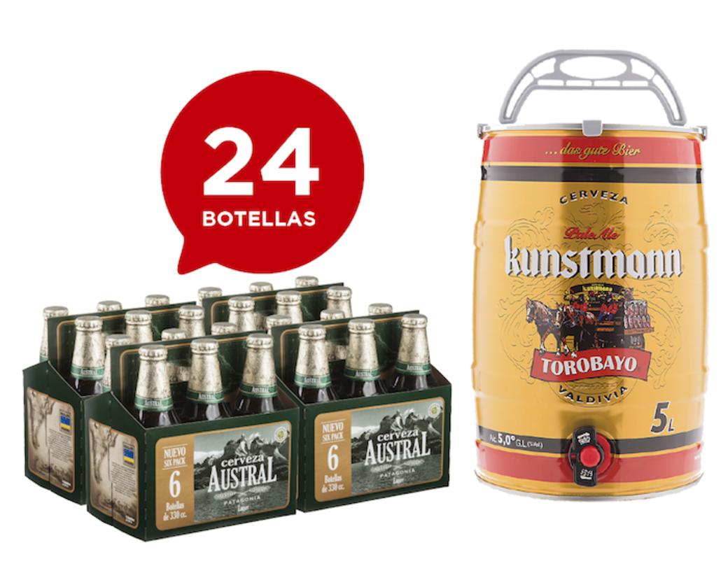 24x Cerveza Austral Lager en Botellas 330cc + Barril Cerveza Kunstmann Torobayo 5 Litros