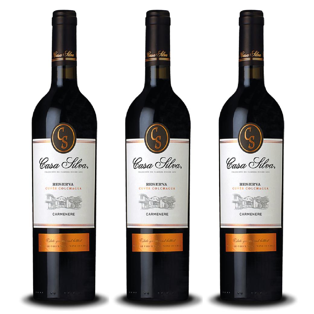 3x Vino Casa Silva Reserva Carmenere 750cc