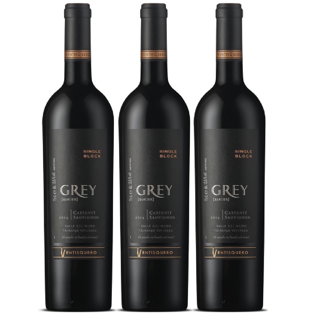 3x Vino Ventisquero Grey Single Block Cabernet Sauvignon 750cc