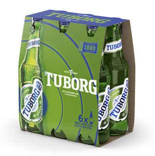 6x Cerveza Tuborg en Botellas 330cc