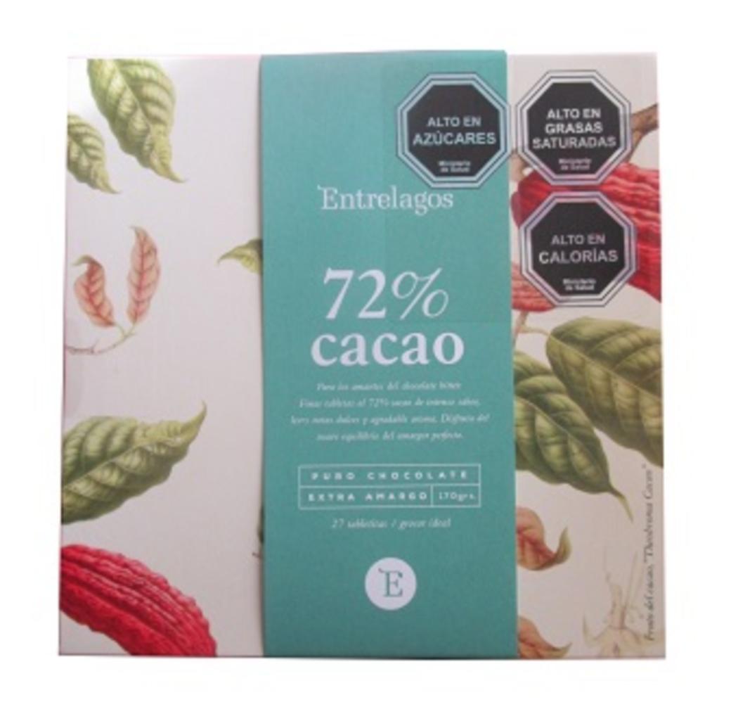 Caja Chocolate Entrelagos Puro Bitter 72% Cacao 148 gramos