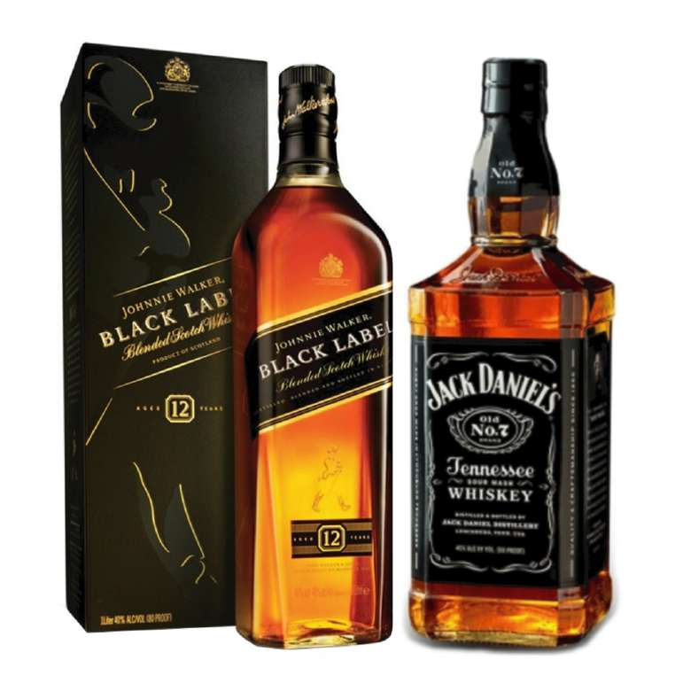 BLACK PACK: Whisky Johnnie Walker Black Label 750cc + Whiskey Jack Daniels N7 750cc