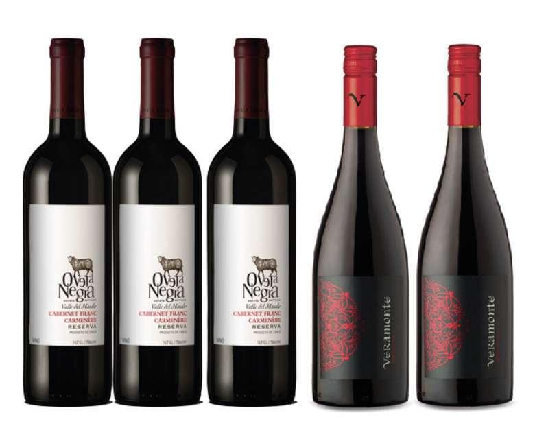 PACK VINOS RESERVA Nº5: 3x Vino Oveja Negra Cabernet Franc/Carmenere 750cc + 2x Vino Veramonte Pinot Noir Reserva 750cc