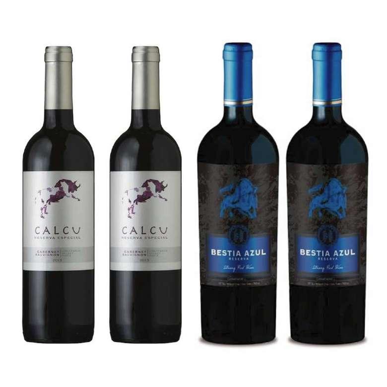 PACK CALCU BESTIA (Cabernet): 2x Vino Calcu Reserva Cabernet Sauvignon 750cc + 2x Vino Bestia Azul Cabernet Sauvignon 750cc