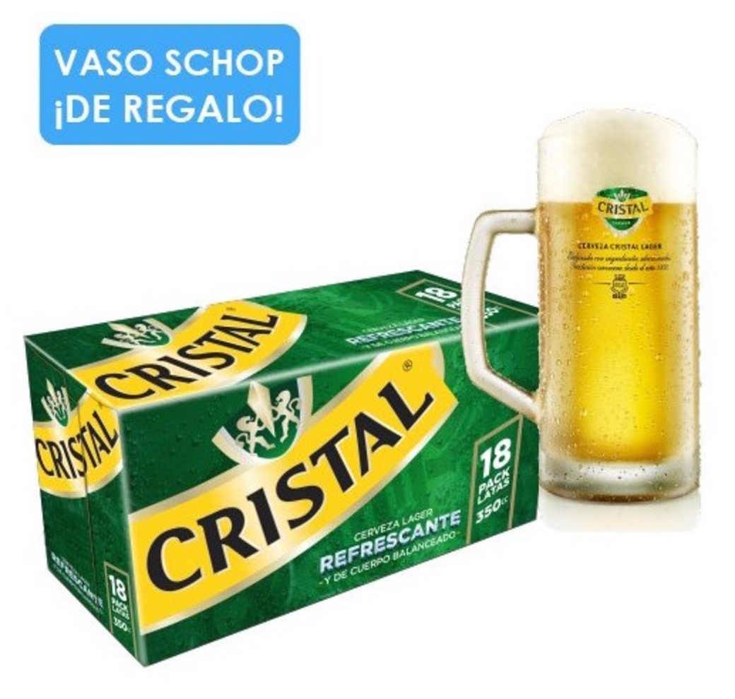 18x Cerveza Cristal en Lata 350cc + Vaso Schop