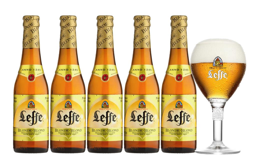 5x Cerveza Leffe Blonde en Botellas 330cc + Vaso [VENCEN 10/09/2018]