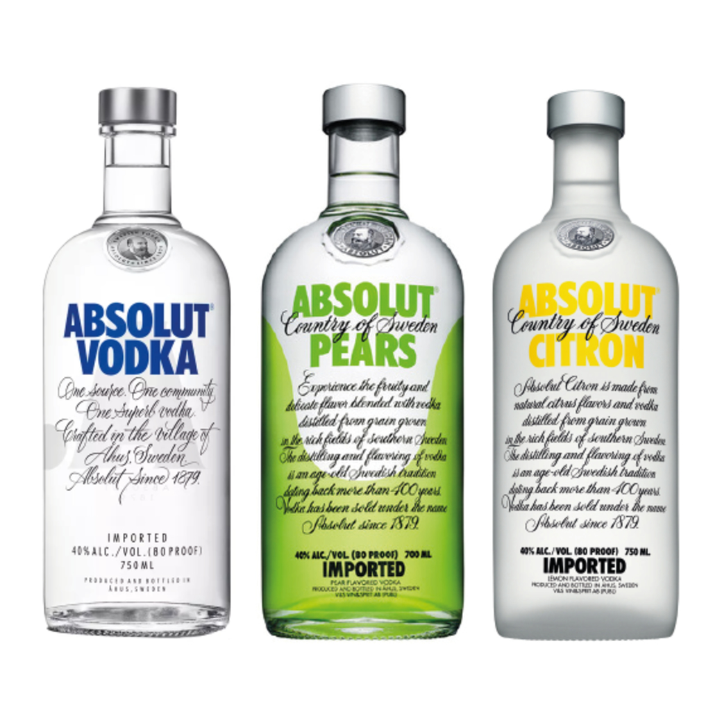 Vodka Absolut Blue 750cc + Vodka Absolut Pears 750cc + Vodka Absolut Citron 750cc