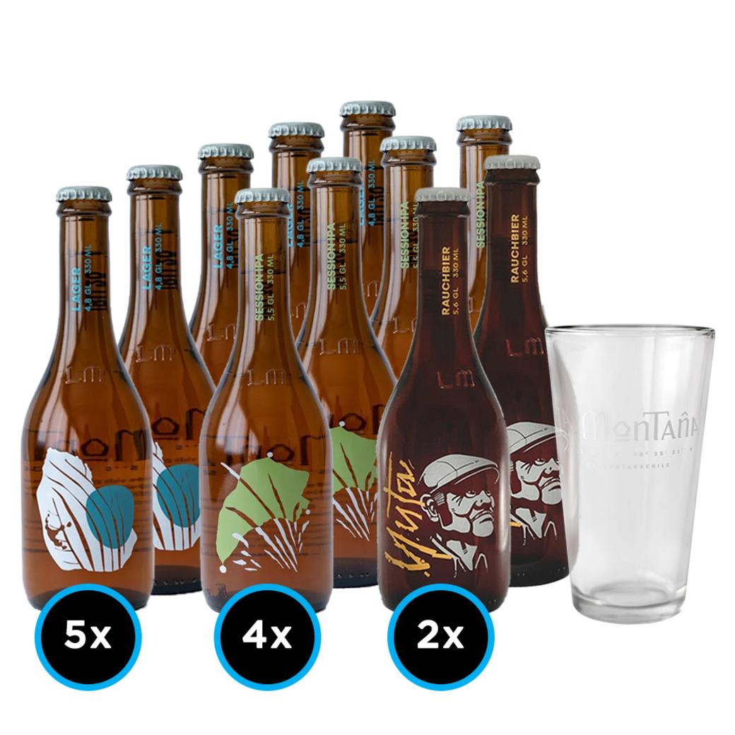 KIT LA MONTAÑA: 5x Cerveza La Montaña Lager 330cc + 4x Cerveza La Montaña Session IPA 330cc + 2x Cerveza La Montaña Yuta Smoked Lager 330cc + 1 Vaso La Montaña 330cc