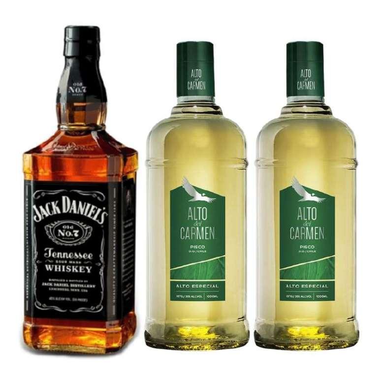 PROMO JACK ALTO: Whiskey Jack Daniels Old N7 750cc + 2x Pisco Alto del Carmen 1 Litro