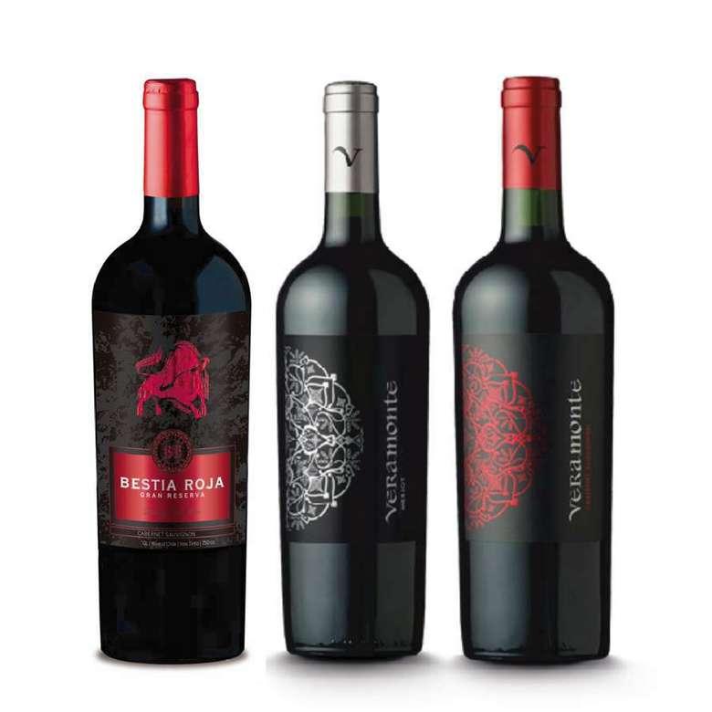 PACK BESTIA VERAMONTE: Vino Bestia Roja Cabernet Sauvignon 750cc + Vino Veramonte Merlot Reserva 750cc + Vino Veramonte Cabernet Sauvignon 750cc