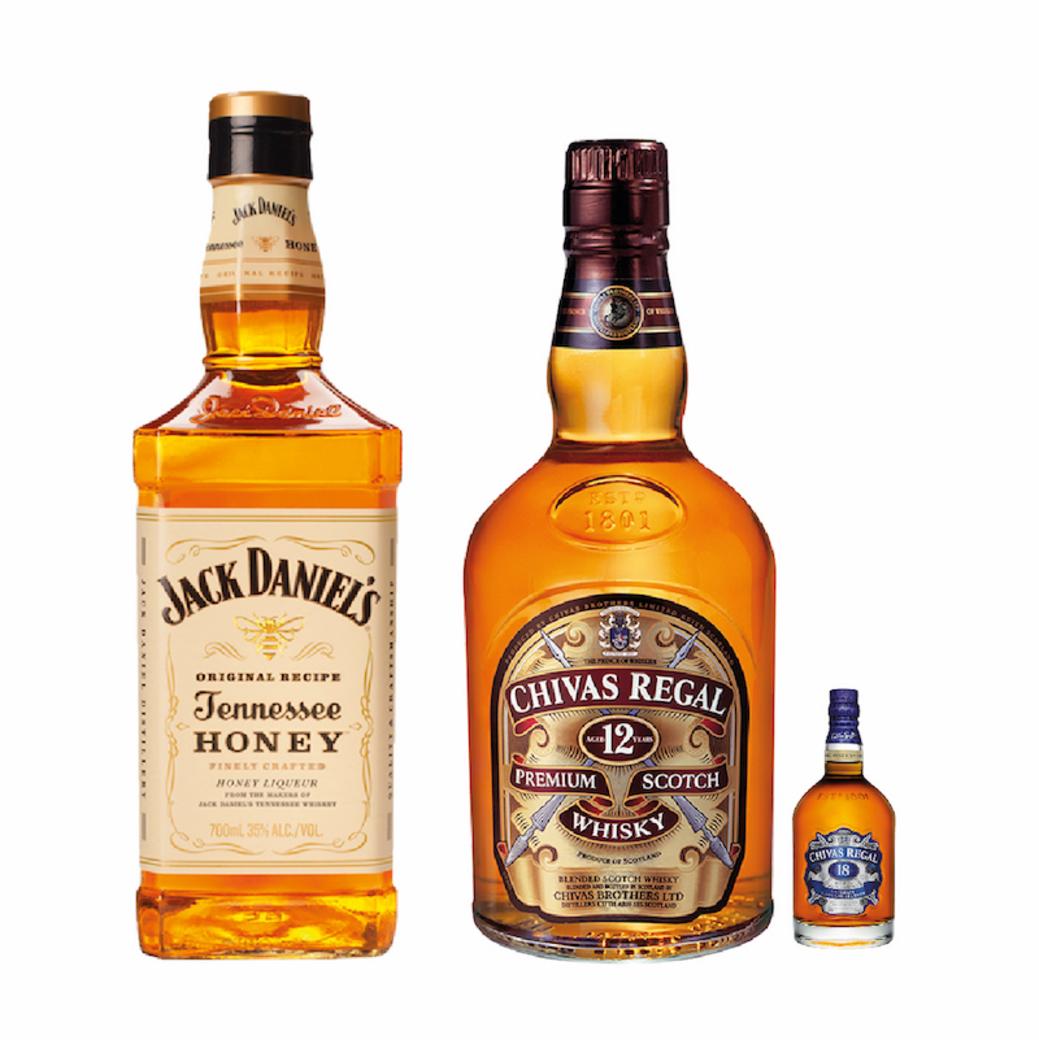 Chivas Regal 12 años + Chivas 18 años mini + Jack Daniels Honey 750cc