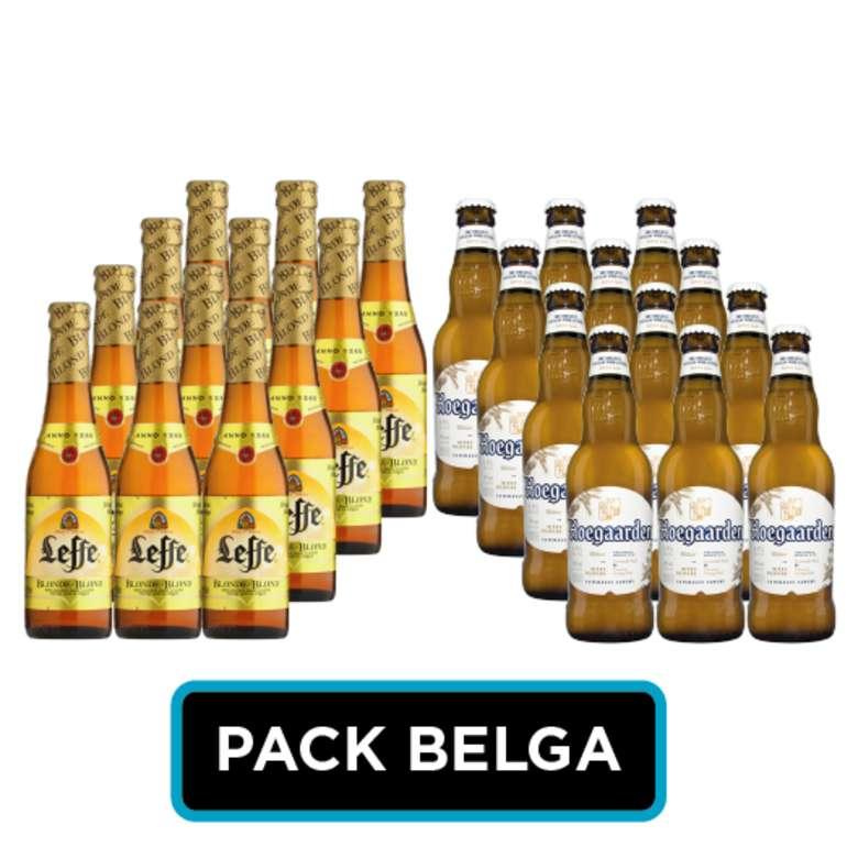 PACK BELGA: 12x Cerveza Leffe Blond Botella 330cc + 12x Cerveza Hoegaarden en Botellas 330cc