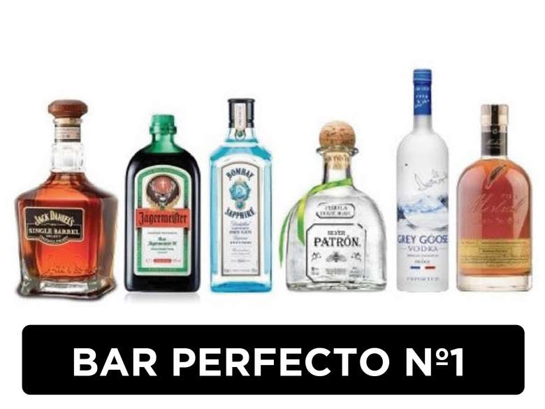 BAR PERFECTO Nº1: Jack Daniels Single Barrel + Jagermeister + Bombay Saphire + Patron + Grey Goose + Gran Nobel