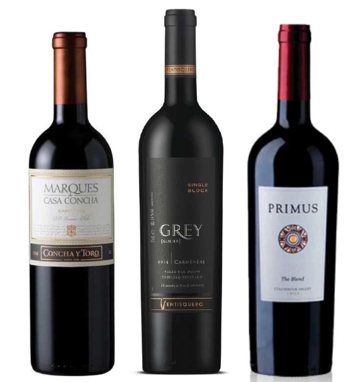 PACK MARQUES GREY PRIMUS (Carmenere): Vino Marques de Casa Concha Carmenere 750cc + Vino Ventisquero Grey Carmenere 750cc + Vino Veramonte Primus The Blend 750cc