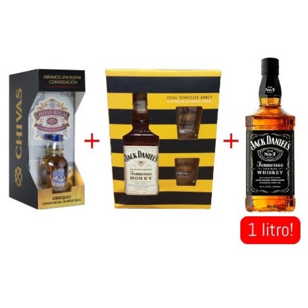 Chivas Regal 12 años 750cc + Chivas 18 mini + Jack Daniels Honey 750cc + 2 vasos + Jack Daniels N7 de 1 Litro