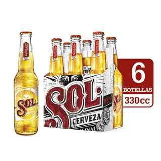 6x Cerveza Sol Botella 330cc