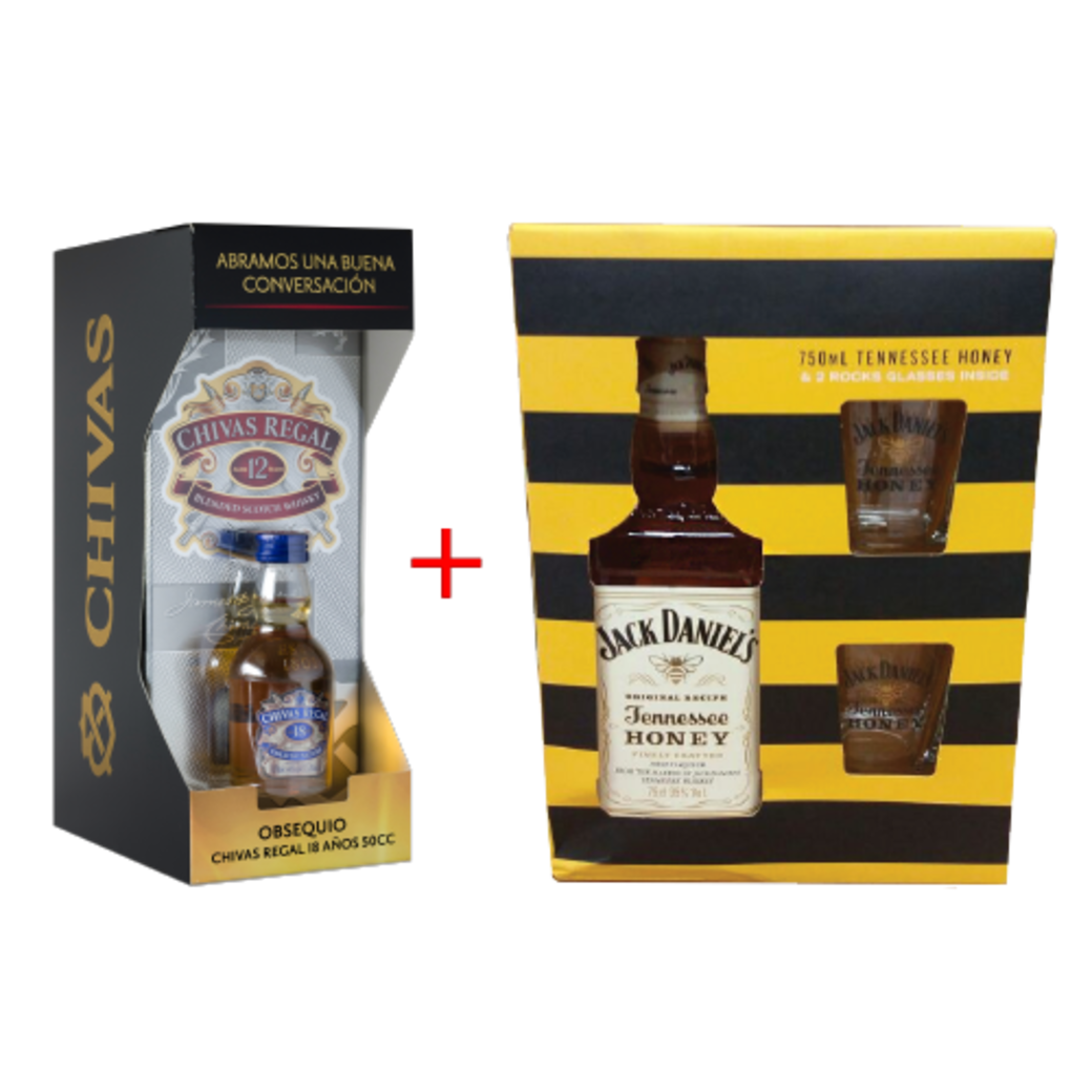 Chivas Regal 12 años + Chivas 18 años mini + Jack Honey + 2 vasos!