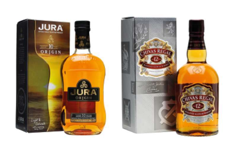 Jura Single Malt 10 años 700cc + Chivas Regal 12 años 750cc