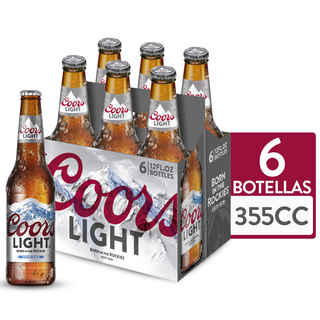 6x Cerveza Coors Light en Botellas 350cc