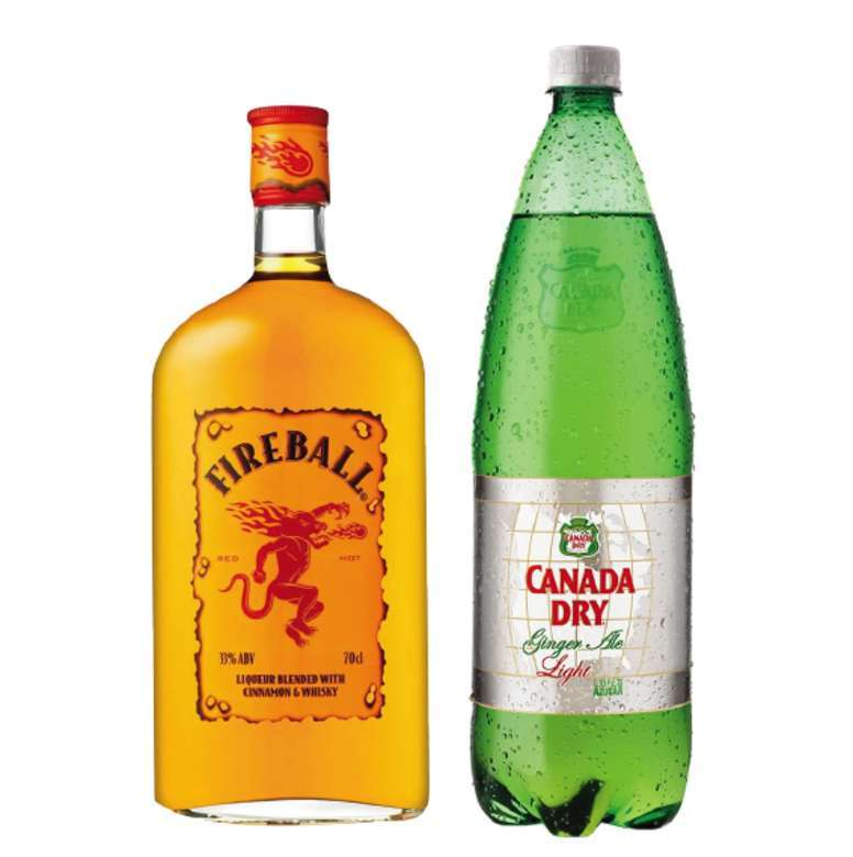 Whiskey Fireball 750cc + Canada Dry Ginger Ale Light 1.5 Lts.