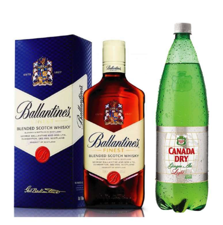 Whisky Ballantines Finest 750cc + Canada Dry Ginger Ale 1.5 lts. Light