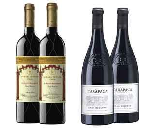 2x Vino Miguel Torres Gran Reserva Cabernet Sauvignon 750cc + 2x Vino Tarapaca Gran Reserva Cabernet Sauvignon 750cc