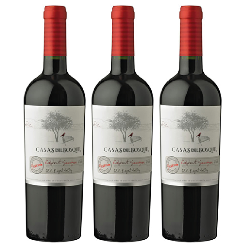 3x Vino Casas Del Bosque Reserva Cabernet Sauvignon 750cc