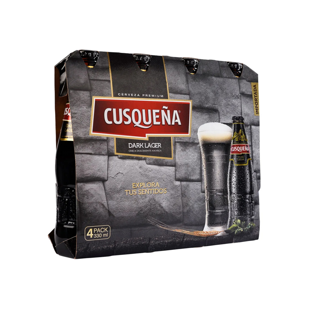 4x Cerveza Cusqueña Dark Lager Botella 330cc
