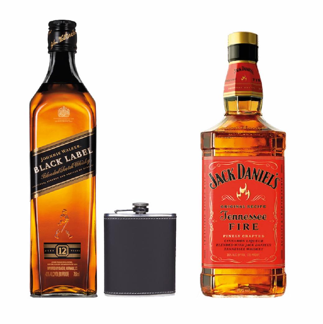 Johnnie Walker Black Label 750cc + Licorera + Jack Daniels Tennessee Fire 750cc