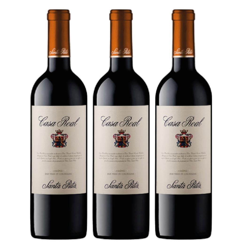 3x Vino Casa Real Carmenere 750cc
