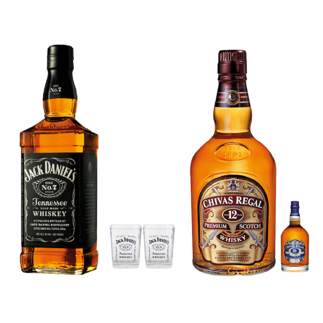 Whiskey Jack Daniels N7 750cc + 2 Vasos + Chivas Regal 12 Años 750cc + Chivas Regal 18 Años Mini 50cc