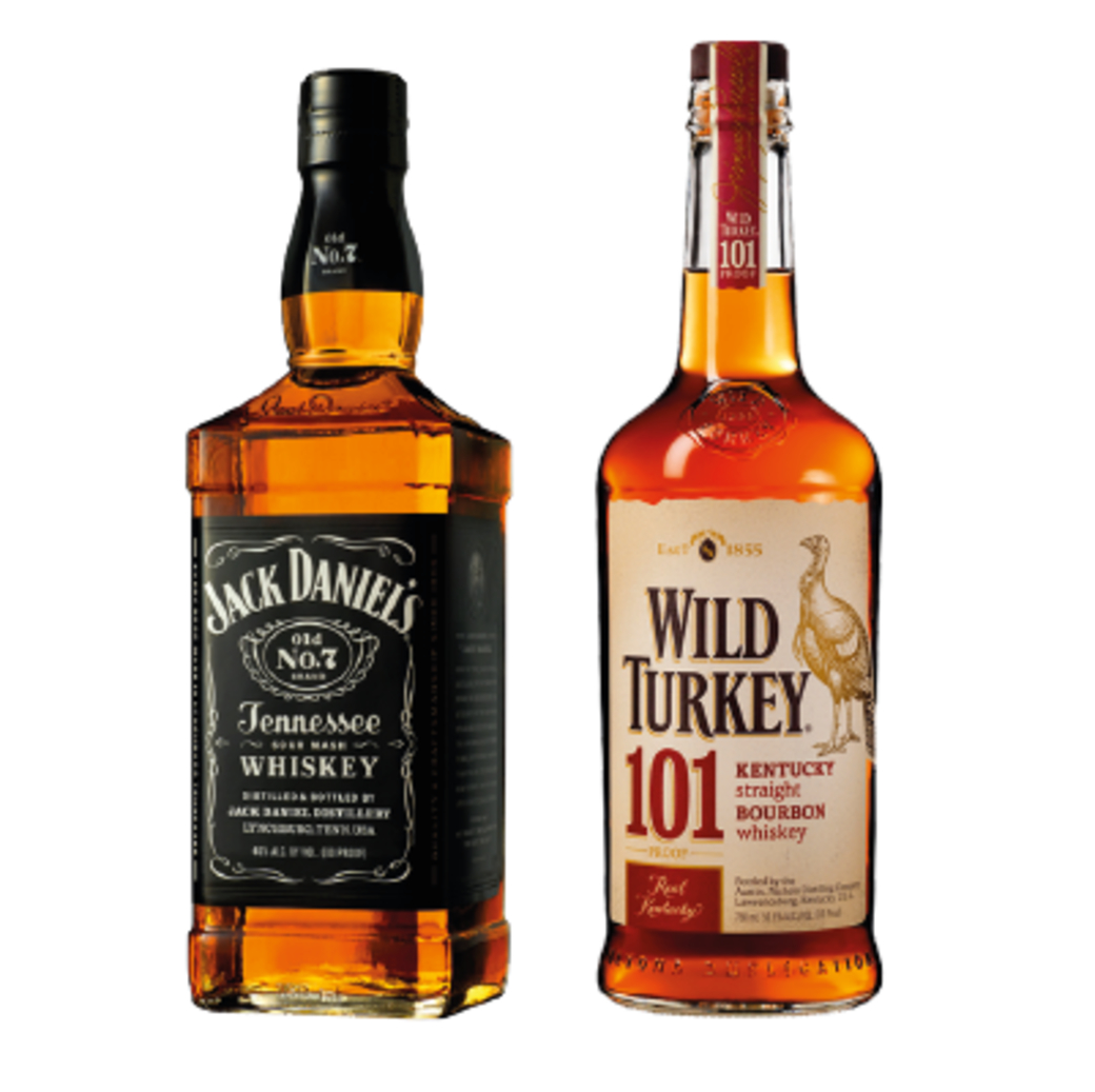BOURBON PACK: Whiskey Jack Daniels Old N7 750cc + Bourbon Wild Turkey 750cc