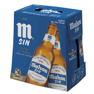 6x Cerveza Mahou Sin Alcohol en Botellas 250cc