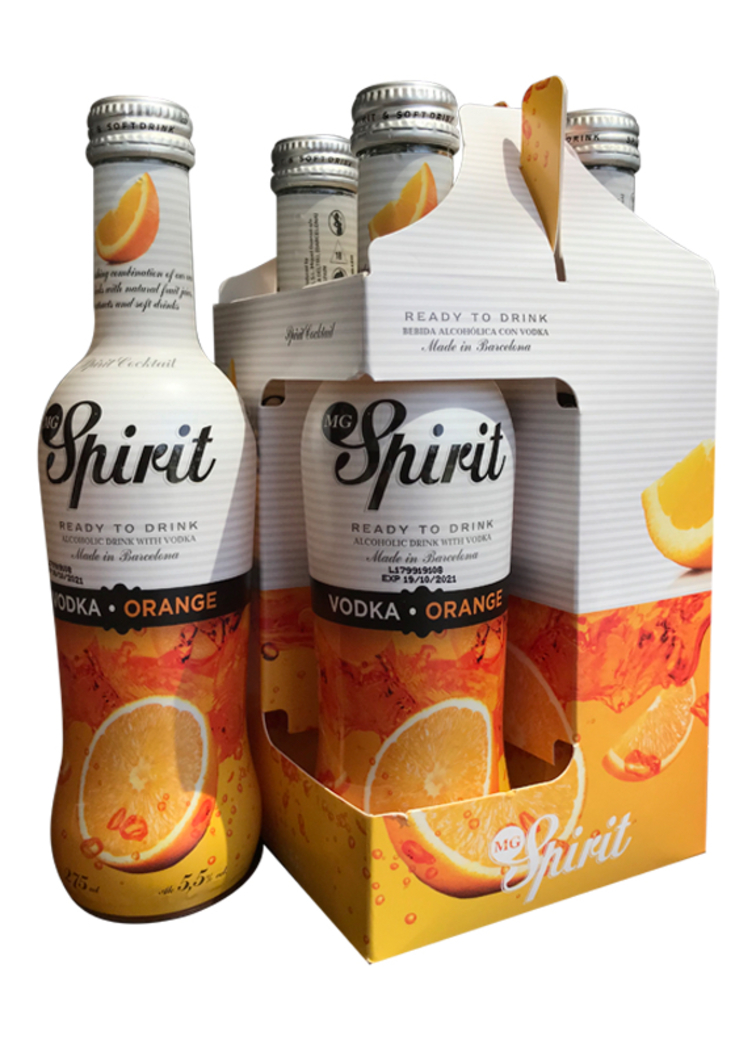 4x Spirit Vodka Orange 5.5º grados, 275cc