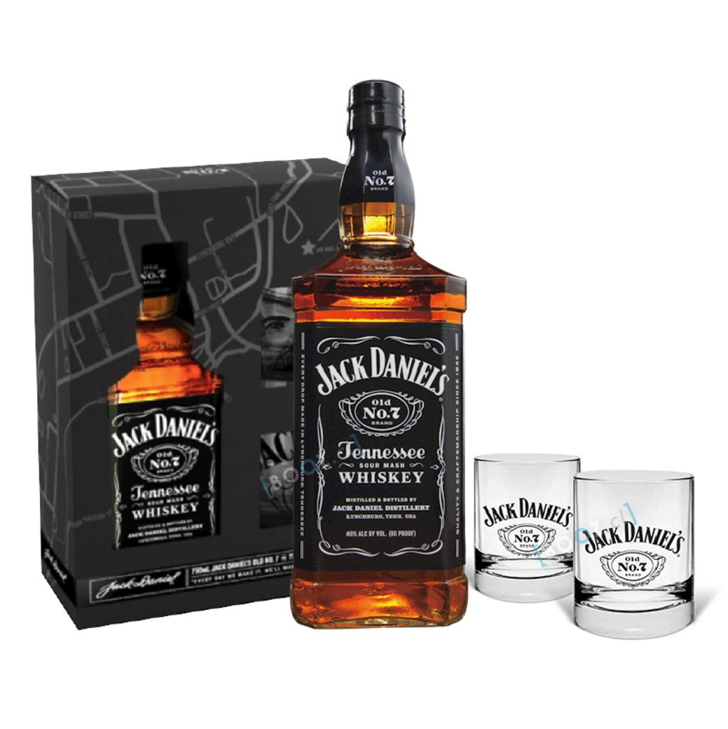 PACK JACK: Whiskey Jack Daniels Old N7 750cc + 2 Vasos Whiskey