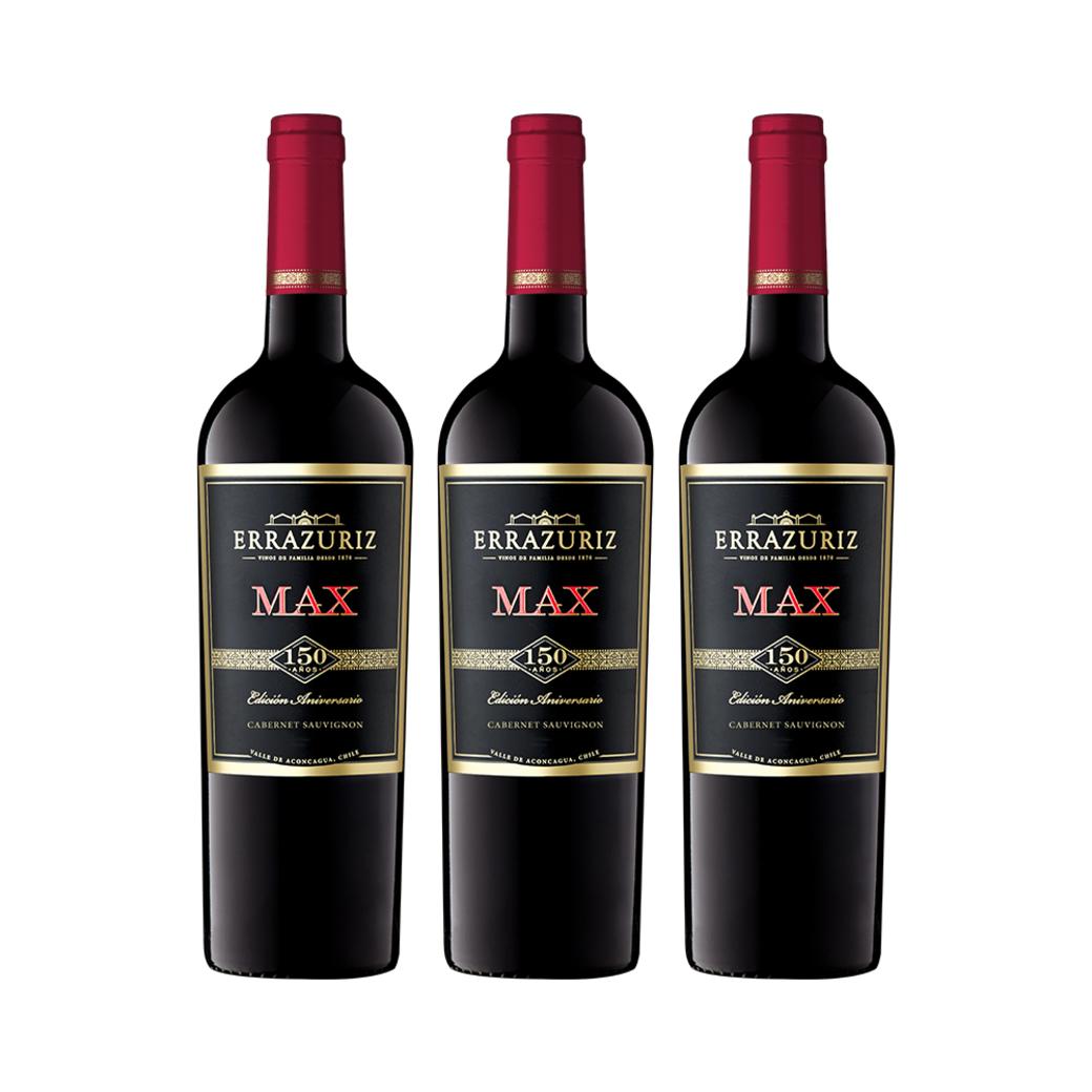3x Vino Errazuriz Max Reserva Cabernet Sauvignon 750cc