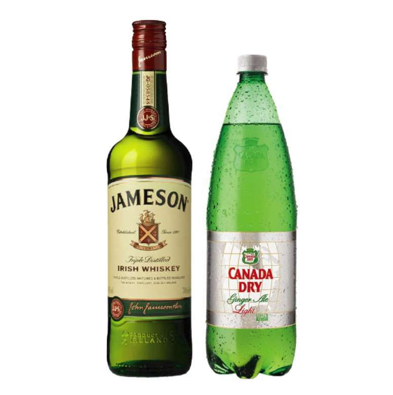 Whisky Jameson Irish Standard 40º 750cc + Canada Dry Ginger Ale Light 1.5 lts.