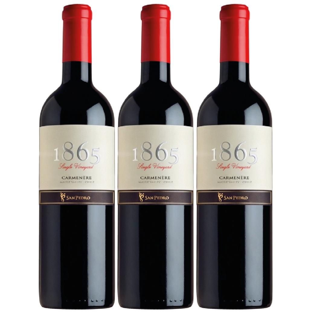 3x Vino San Pedro 1865 Carmenere 750cc