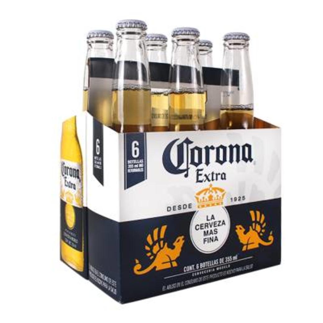 6x Cerveza Corona Extra en Botellas 355cc