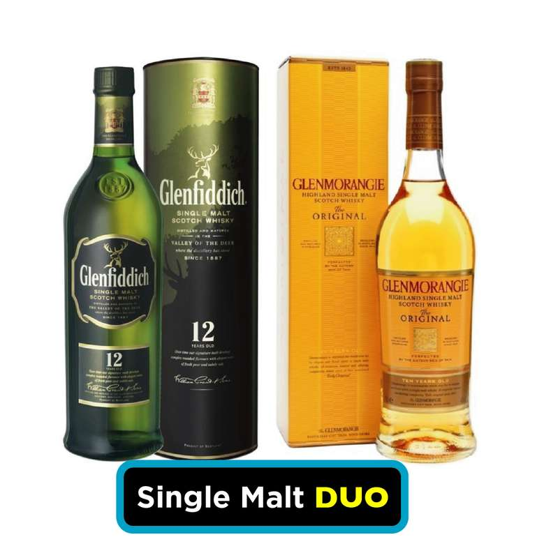 SINGLE MALT DUO: Whisky Glenfiddich 12 años 750cc 40º alc. + Whisky Glenmorangie Original 10 años 700cc 40º alc.